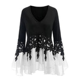 Lace Stitching Irregular Tassel Long Sleeve Chiffon Shirts Women Plus Size White Blouse Tops Blouses