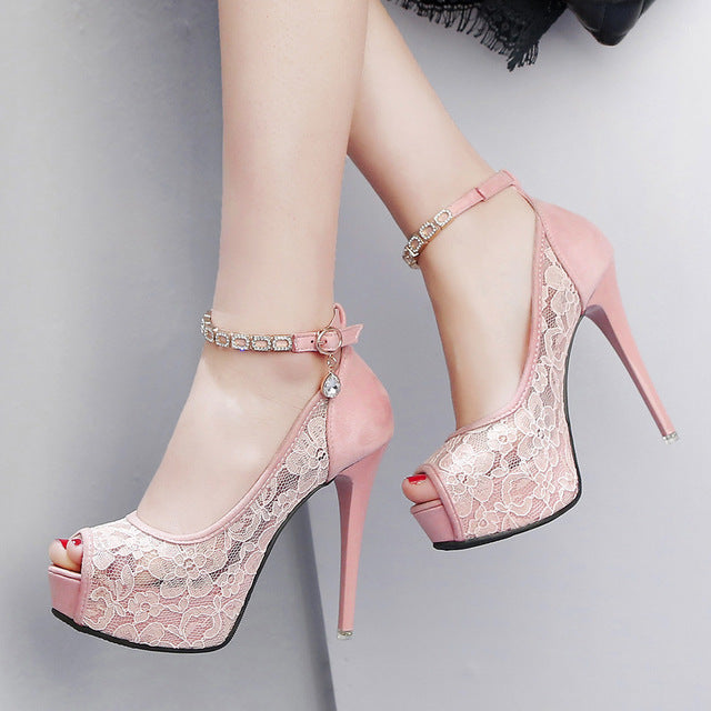 Lace Wedding Shoes Peep Toe High Heels Summer Pumps Women Shoes Sandals