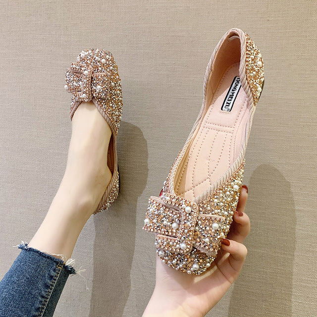 Women Bling Crystal Diamond Black Pink Flats Bow Sequins Single Shoes Rhinestone Glitter Square Toe Ballet
