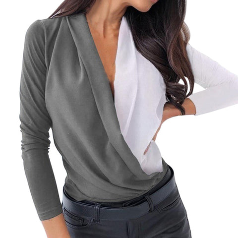 Women Ruched V-neck Blouses Shirts Spring Long Sleeve Pullovers Casual Patchwork Tops Plus Size Shirts