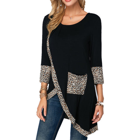 Leopard Print Pocket Long Tshirts Women Black T Shirt Spring Long Sleeved Casual Shirts Tops O-Neck