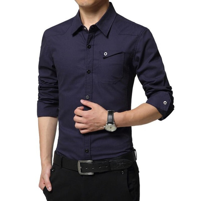 Plus Size High Quality Summer Men's Military Uniform Style Casual Long Sleeved Shirt Leisure Casual Shirt