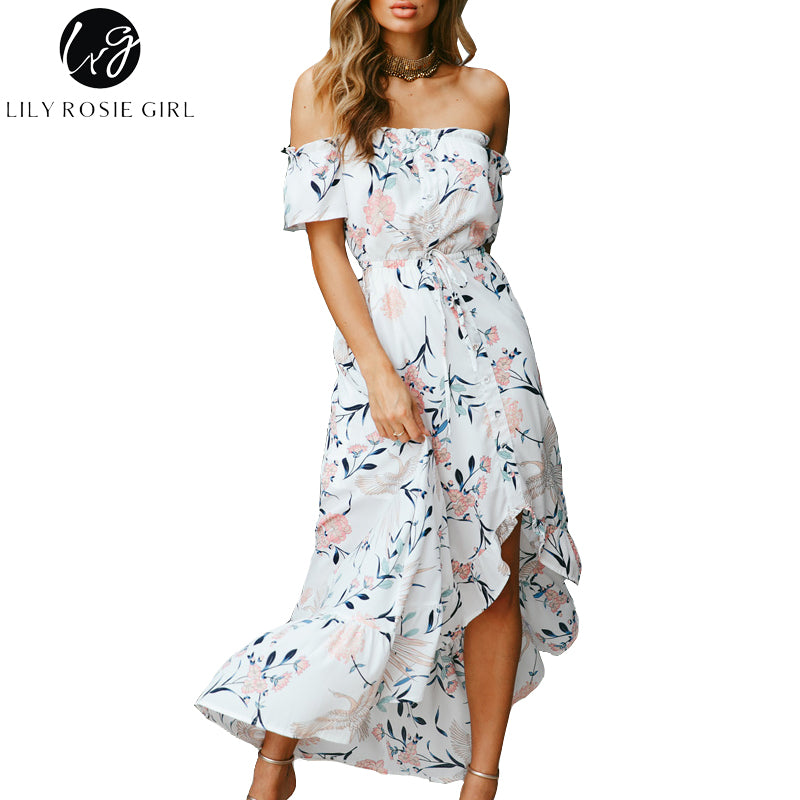 45218a29d0 Off Shoulder White Print Women Boho Dresses Summer Ruffles Short Sleeve  Backless Beach Party Vestidos Dress