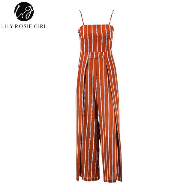 97bcd89d49 ... Red Striped Off Shoulder Jumpsuits Women Summer Beach Strap Long Rompers  Playsuits Backless Bow Overalls ...