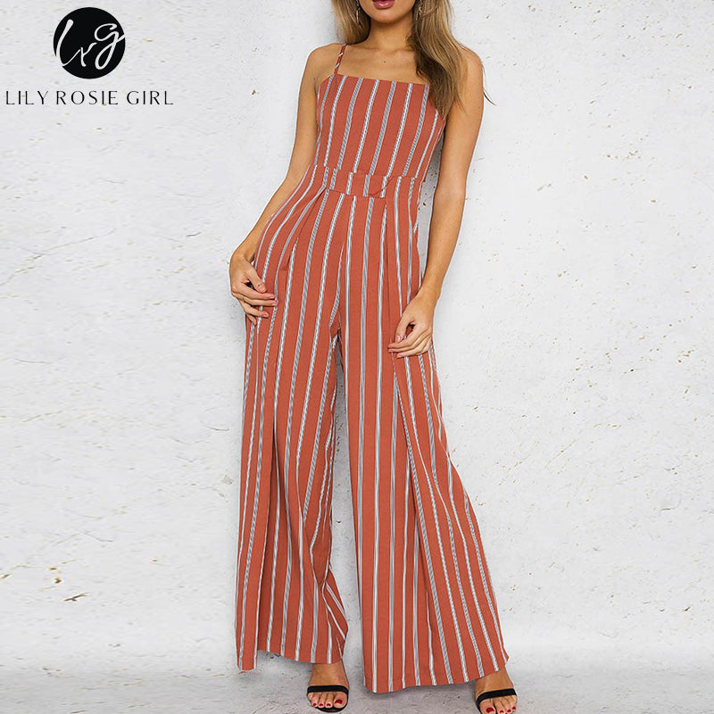 Red Striped Off Shoulder Jumpsuits Women Summer Beach Strap Long Rompers Playsuits Backless Bow Overalls