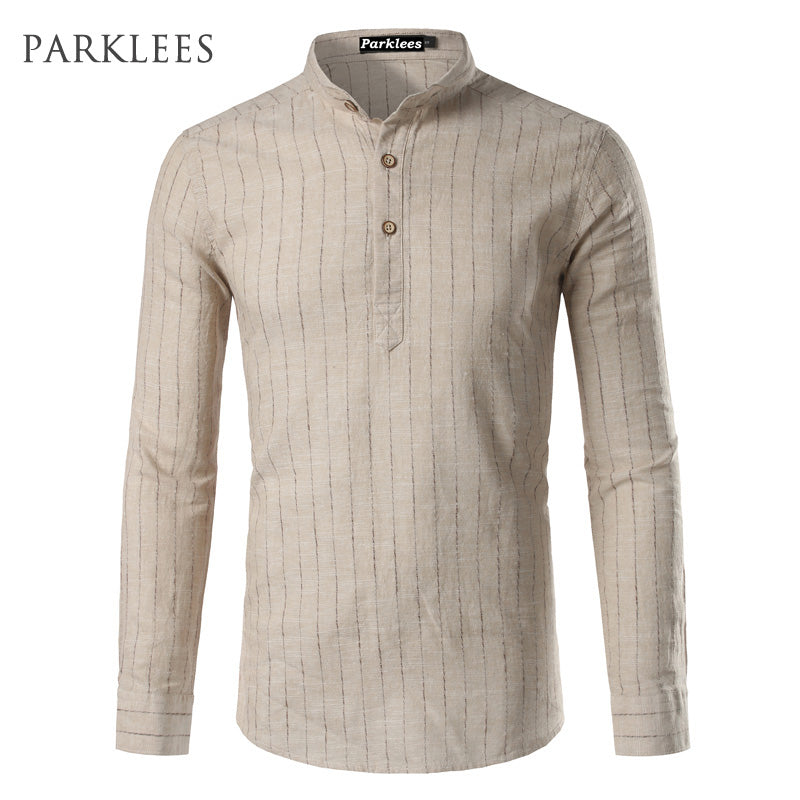 Linen Shirt Men High Quality Cotton Shirts Casual Slim Fit Long Sleeve Striped Chemise Camisa