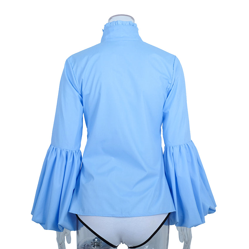 Long Wide Lantern Sleeve Blue Blouse Women Button Down Shirts Autumn Winter Tops Turtleneck