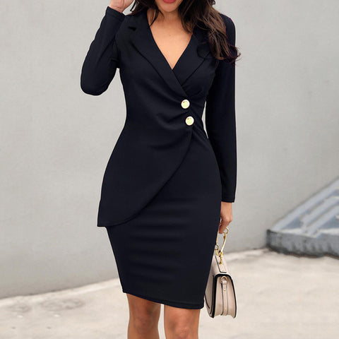 Women Office Work Pencil Dress Buttons Wrap Long Sleeve Plus Size Spring Formal Slim Blazer Dresses