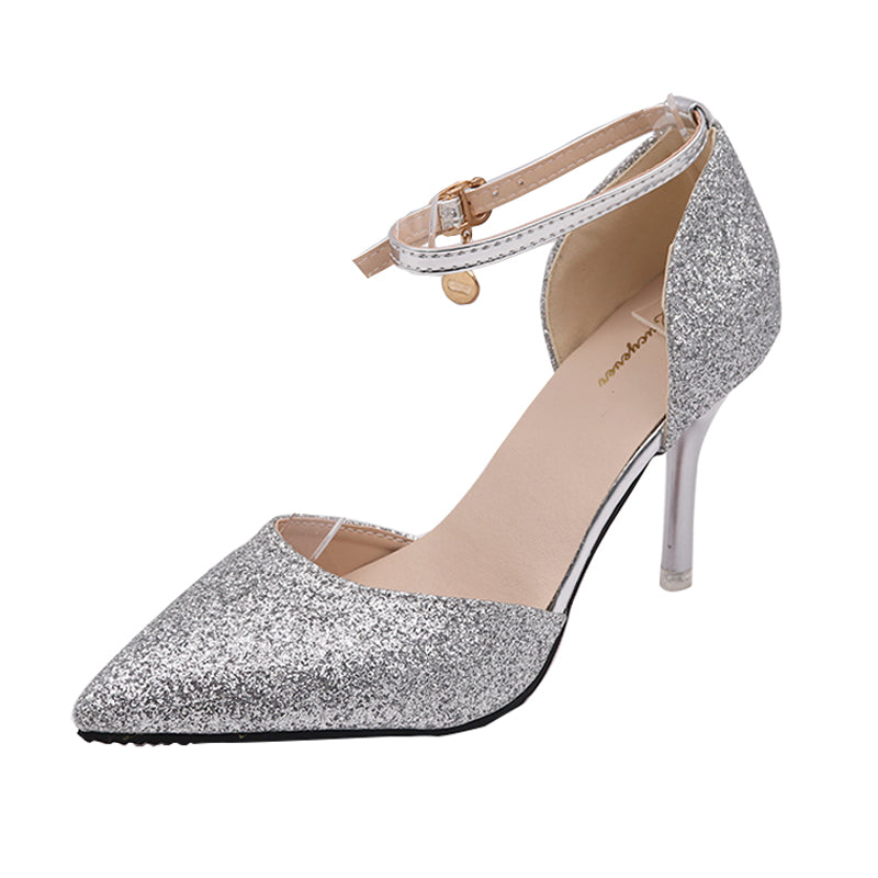 Buckle Crystals Bling Pumps Women Thin High Heels Point Toe Party Wedding Shoes Gold Silver Black