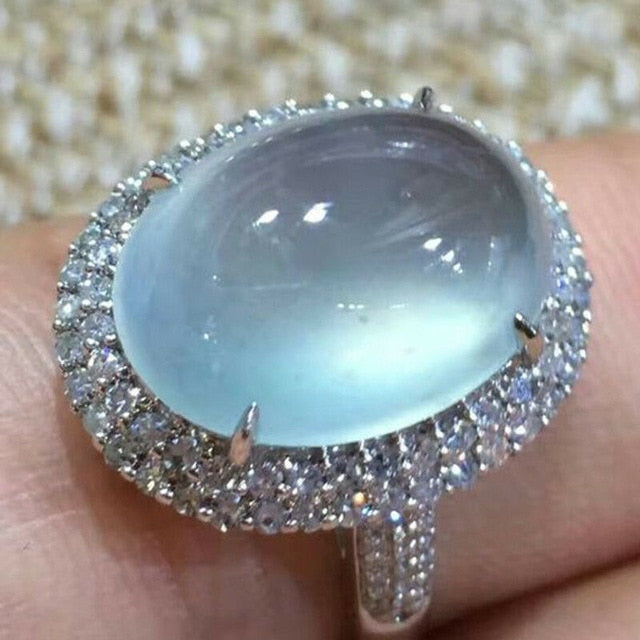 Big Blue Oval Moonstone Ring Women Girl Crystal Silver Color Rings Wedding Engagement Jewelry