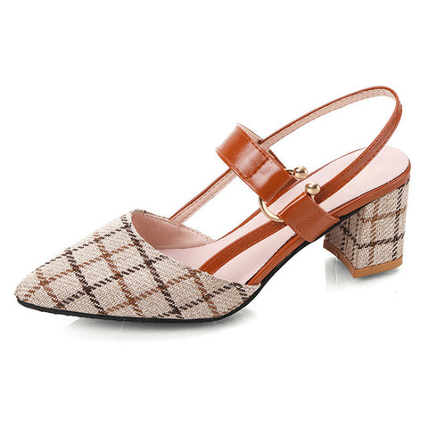 Plaid Shoes Women Sandals Summer Shoes Square Heels Sandals High Heels