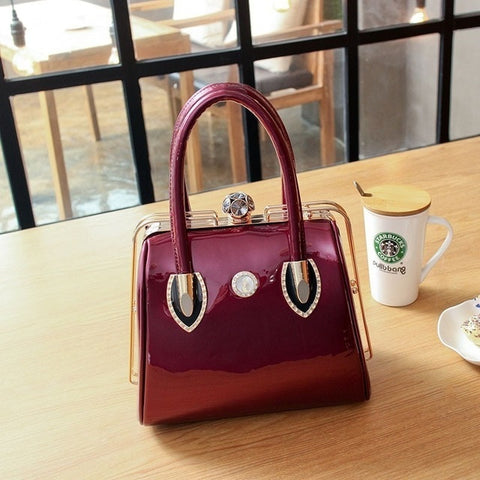 Women Messenger Casual Tote Frame Patent Leather Bags Brand Diamonds Cross Body Handbags