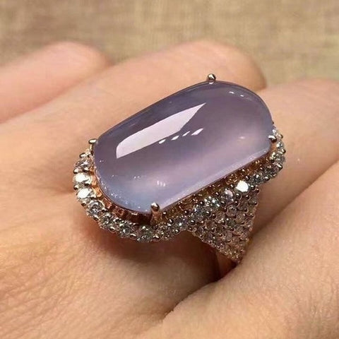 Purple Mellow Moonstone Ring Women Crystal Rose Gold Color Rings Wedding Engagement Jewelry