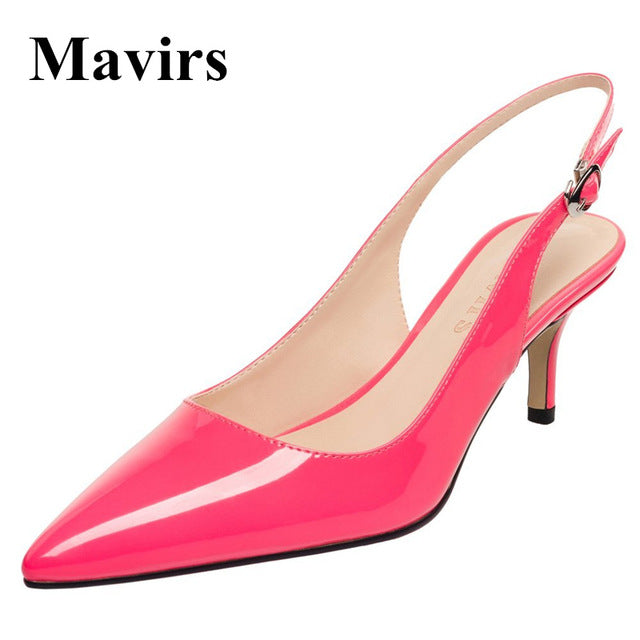 Women Pumps Spring Pointed Toe Patent Stiletto Blue Black Red White Peach Bride Shoes