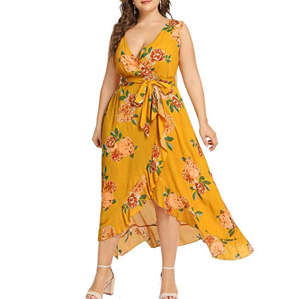 Women Plus Size Summer Bohemian V Neck Floral Print Boho Sleeveless Party Empire Maxi Dresses