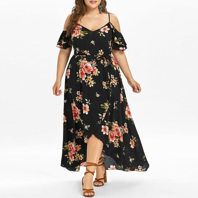 Summer Plus Size Women Casual Butterfly Sleeve Cold Shoulder Bohemian Print Asymmetrical Long Dresses