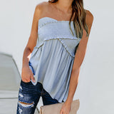 Women Strapless Boob Tube Blouse Casual Bandeau Floral Summer Beach Vest Tank Tops