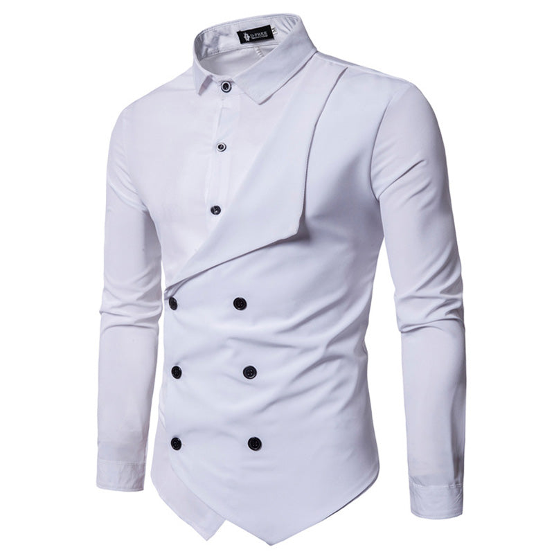 Men Shirt Spring Slim Fit Dress Shirt Male Long Sleeves Fake Two Casual Shirt