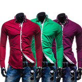 Men Shirt Luxury Long Sleeve Shirts Casual Solid Multi-Button Hit Color Slim Fit Dress Shirts Hawaiian
