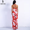 Spring & Summer Deep V Ruff Halter Off Shoulder Flower Print Two Split Jumpsuits Backless Playsuits