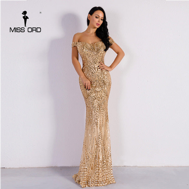 Missord Sexy Bra Party Dress Sequin Maxi Dress
