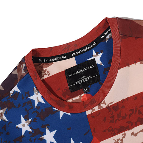 America Flag 3D Printed T-Shirt Men Summer Style Short Sleeve Round Collar T Shirt