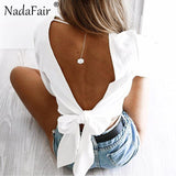 Full Sleeve V Neck Backless Bow Short Chiffon Blouse Women Sexy Club Party Shirts