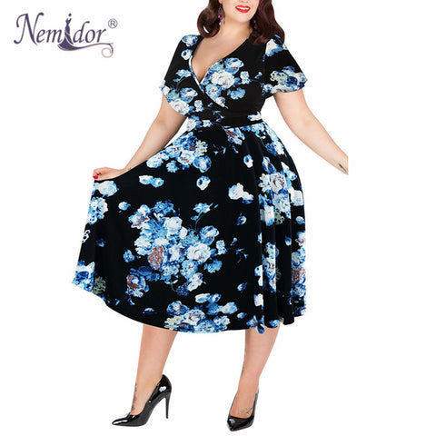 Women V-neck Short Sleeve Party A-line Dress Vintage Stretchy Midi Plus Size Cocktail Swing Dresses