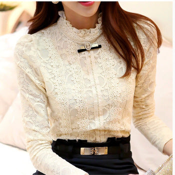 Women Blouse Feminine Blouses & Shirts Fleece Crochet Blouse Lace Shirt