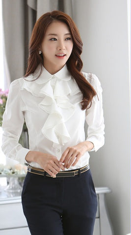 Chiffon Long Sleeve Women Blouse Shirt Ruffles White Black Office Tops