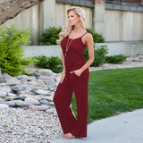 Spaghetti Cross Strap Lace Up Jumpsuits Summer Women V Neck Solid Casual Sleeveless Pockets Long Romper