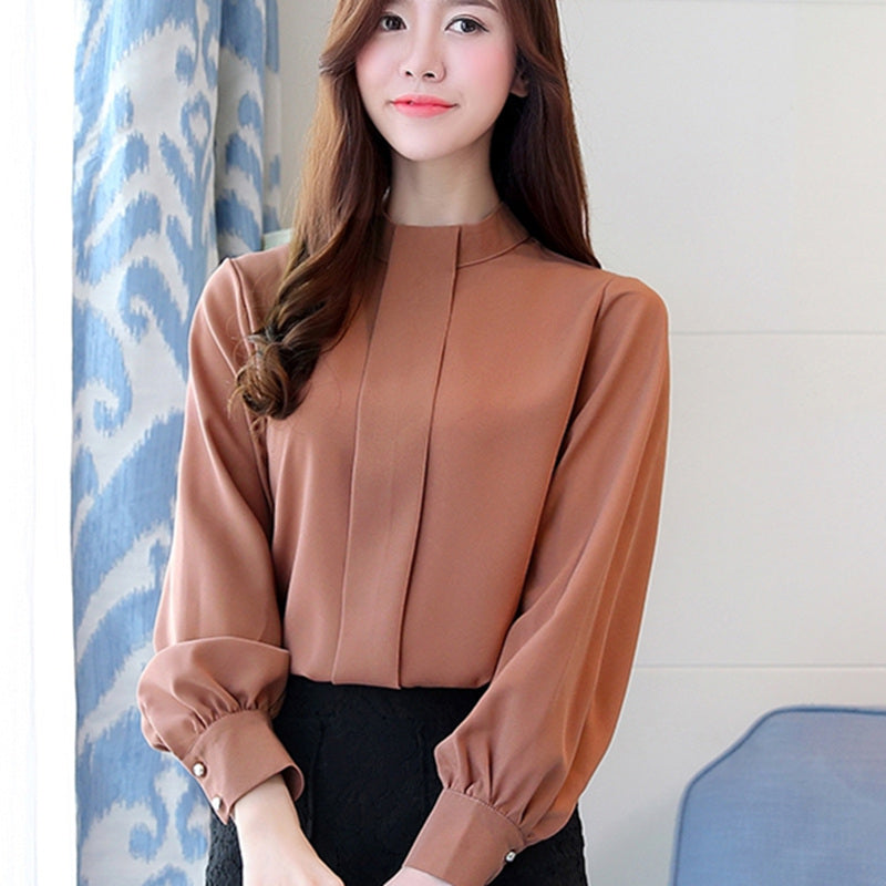 Women Blouse Long Sleeve Chiffon Blouse Shirts Casual Blouse Tops Plus Size Lady Shirt