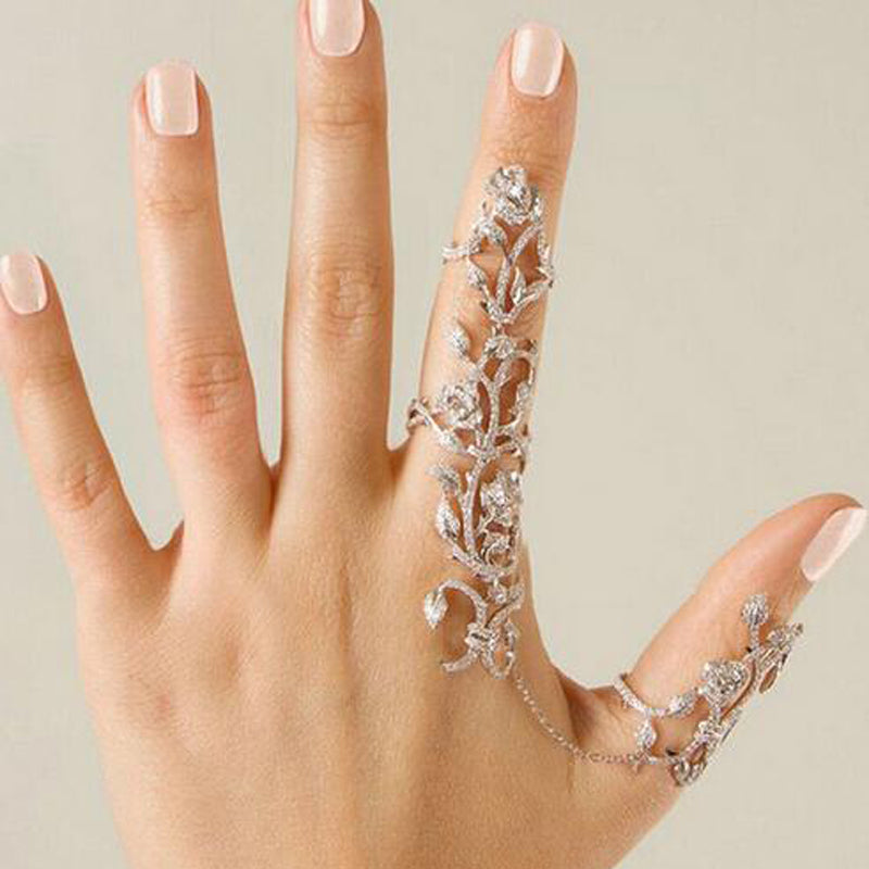 Chain Link Ring Full Rhinestone Vintage Flower Double Finger Rings Women Girl Party Jewelry Accessories