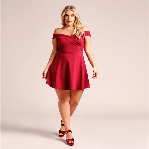 Women Summer Plus Size Applique Short Sleeve V-Neck Loose Party Dress Beach Dresses