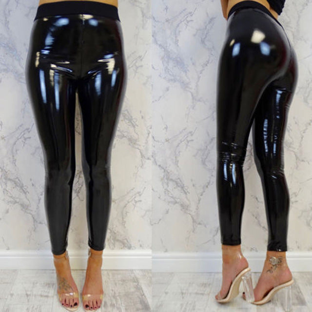 special for shoe official images great prices Womens Black Pants Slim Soft Stretchy Shiny Wet Look Faux Leather Ladies  High Waist Pencil Sexy Trousers