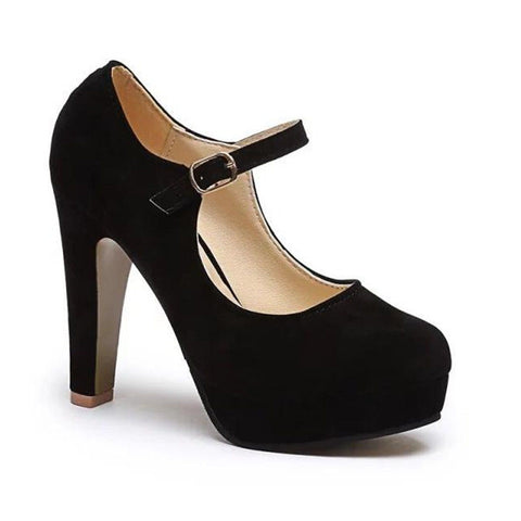 Pumps Women Shoes Summer High Heels Rounded Suede Comfortable Work Shoes