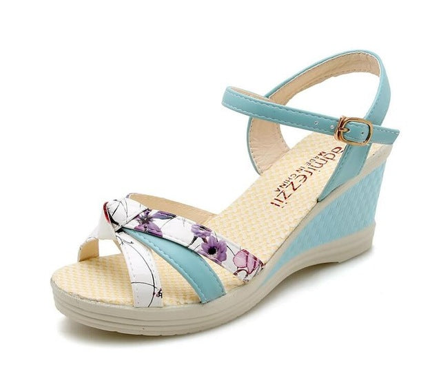 Women Sandals Summer Wedge Shoes Bohemian Buckle Classic Non-slip Sandals Shoes