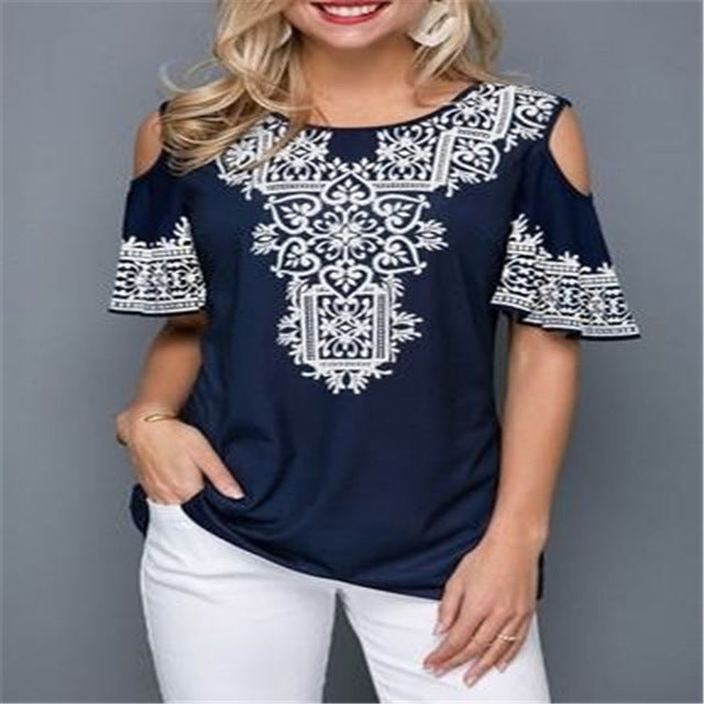 Summer Women Blouses Casual Short Sleeve Tops Tees Off Shoulder Floral Print Blouse Shirt Plus Size