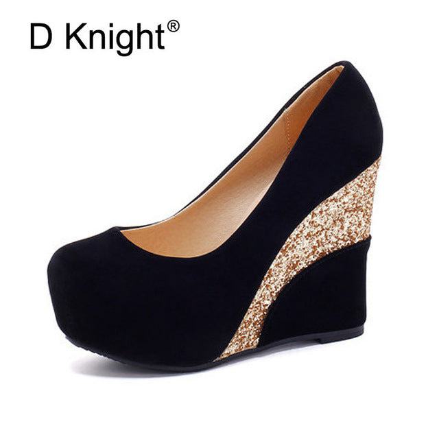 Casual Platform Vintage Flock Glitter Patchwork High Heels Women Shoes Ladies Slip-on Wedge Wedding Shoes