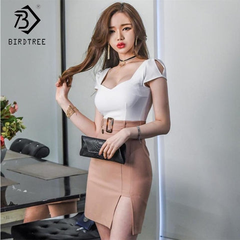 Women Patchwork Button Asymmetrical Dress Deep V Neck Backless High Waist Short Office Dresses