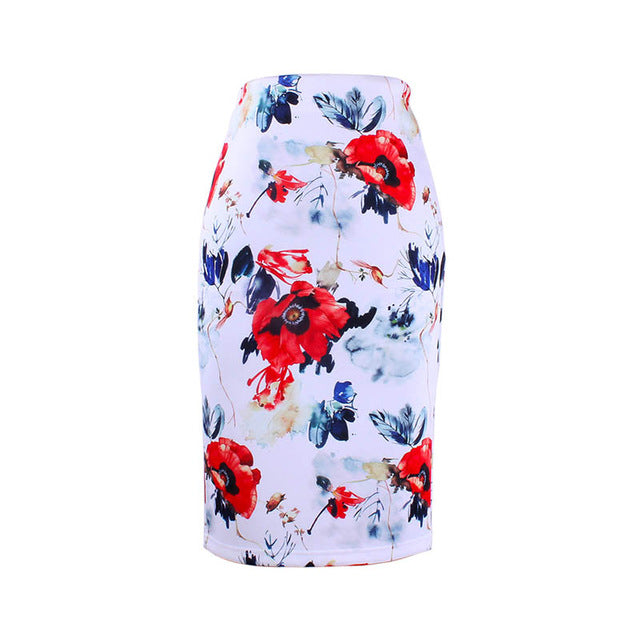 Blue Flower Print Women Pencil Skirts Midi Girls Slim Bottoms
