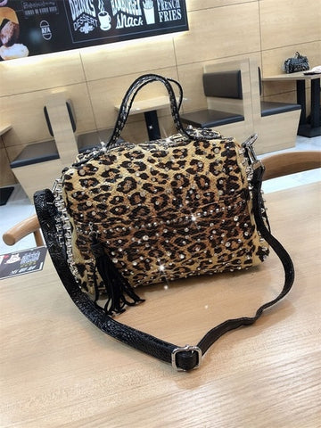 Handbags Personality Retro Leopard Rhinestone Handbag Rivet Shoulder Ladies Casual Messenger Bag