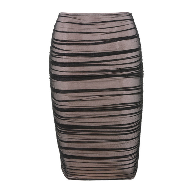 Garden Black Ruched Mesh Skirt Semi-Sheer Lining Pencil Skirt High Waist Midi Club Party Bodycon Skirts