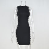 Women Sequin Dress Black O-Neck Cut Out Party Sequined Straps Bodycon Dress Club Mini Dresses