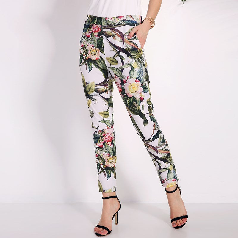 Womens Elastic Mid Waisted Camouflage Print Trousers Ladies Casual Cropped Pants
