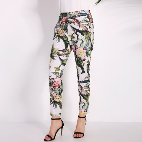 Summer Women Pants Bohemian Floral Print Pants Ladies Vintage Casual Mid Elastic Waist Long Trousers