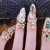Cute Rhinestone Bowknot Crown Pattern Art Crystal Finger Nail Rings Women Gold Silver Jewelry Gifts