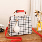 Women Brand Black White Plaid Design Handbag Flap Tote Bag Shoulder Bags Leather Cross Body