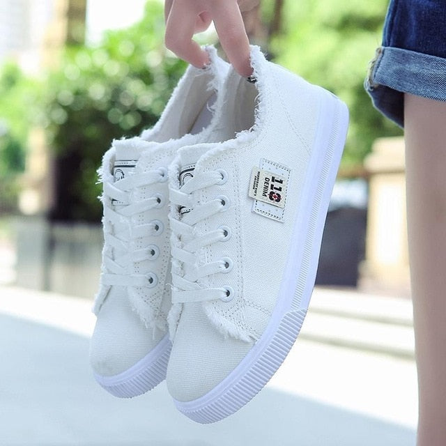 Casual Shoes Women Sneakers Student Shoes Canvas Denim Casual Shoes