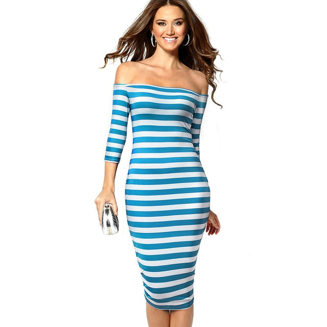 Casual Contrast Color Patchwork Stripes Off Shoulder Bodycon Business Party Sheath Women Dresses